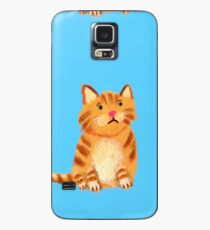 Ginger Cat on blue Case/Skin for Samsung Galaxy