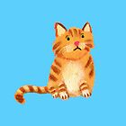 Ginger Cat on blue by Tiphanie Beeke