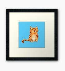 Ginger Cat on blue Framed Print