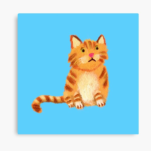 Ginger Cat on blue Canvas Print