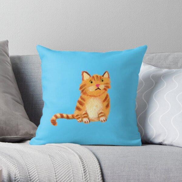 Ginger Cat on blue Throw Pillow
