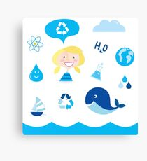 H20 ICONS BLUE ON WHITE Canvas Print