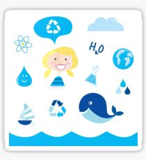 H20 ICONS BLUE ON WHITE Sticker
