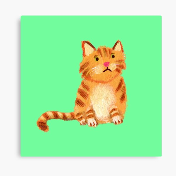 Ginger Cat on green Canvas Print