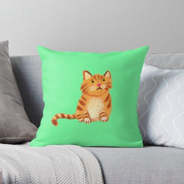Ginger Cat on green Throw Pillow