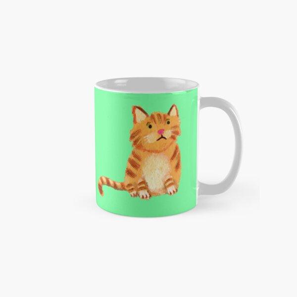 Ginger Cat on green Classic Mug