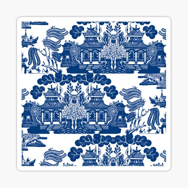 Blue Willow Chinoiserie Blue And White Porcelain Inspiration Sticker