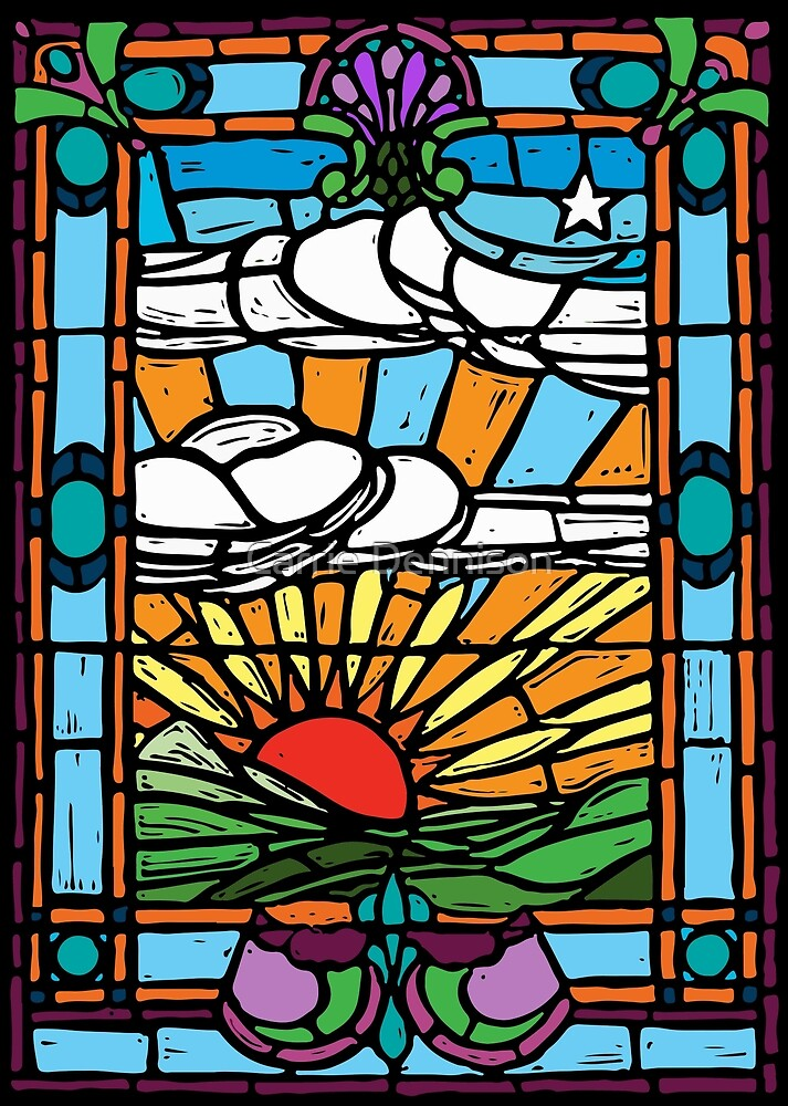 Sunrise Stained Glass Window by Carrie Dennison
