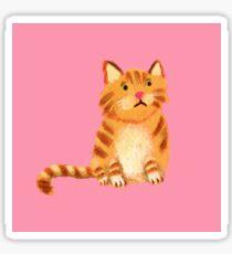 Ginger Cat on pink Sticker