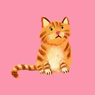 Ginger Cat on pink by Tiphanie Beeke