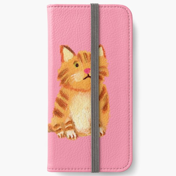 Ginger Cat on pink iPhone Wallet