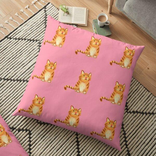 Ginger Cat on pink Floor Pillow
