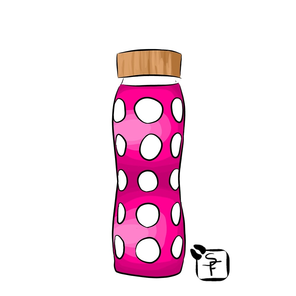 Pink Water Bottle by SonneFaunArt