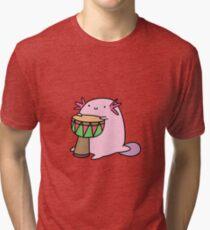 Axolotl Playing the Djembe Tri-blend T-Shirt