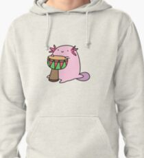 Axolotl Playing the Djembe Pullover Hoodie