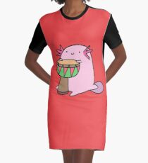 Axolotl Playing the Djembe Graphic T-Shirt Dress