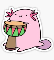 Axolotl Playing the Djembe Sticker