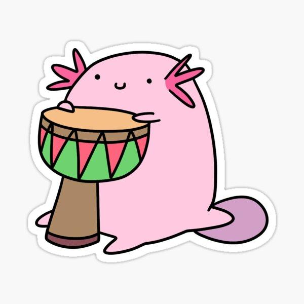 Axolotl tocando el djembe Pegatina