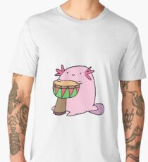 Axolotl Playing the Djembe Men's Premium T-Shirt