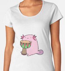 Axolotl Playing the Djembe Women's Premium T-Shirt