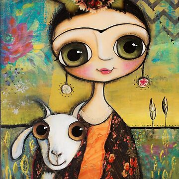 Frida Kahlo and the white goat by marrighi