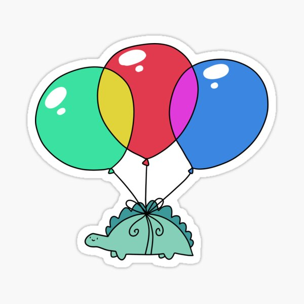 Balloon Stegosaurus Sticker