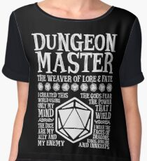 Dungeon Master, The Weaver of Lore & Fate - Dungeons & Dragons (White Text) Chiffon Top