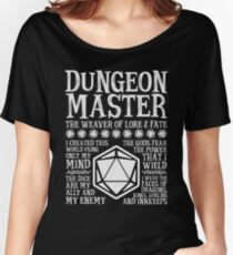 Dungeon Master, The Weaver of Lore & Fate - Dungeons & Dragons (White Text) Women's Relaxed Fit T-Shirt