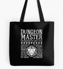 Dungeon Master, The Weaver of Lore & Fate - Dungeons & Dragons (White Text) Tote Bag