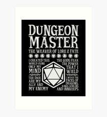 Dungeon Master, The Weaver of Lore & Fate - Dungeons & Dragons (White Text) Art Print