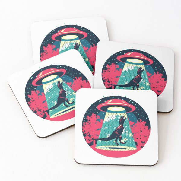 Beware UFO, T. Rex / Red Coasters (Set of 4)