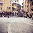 Italian medieval square on a snowy day by Silvia Ganora