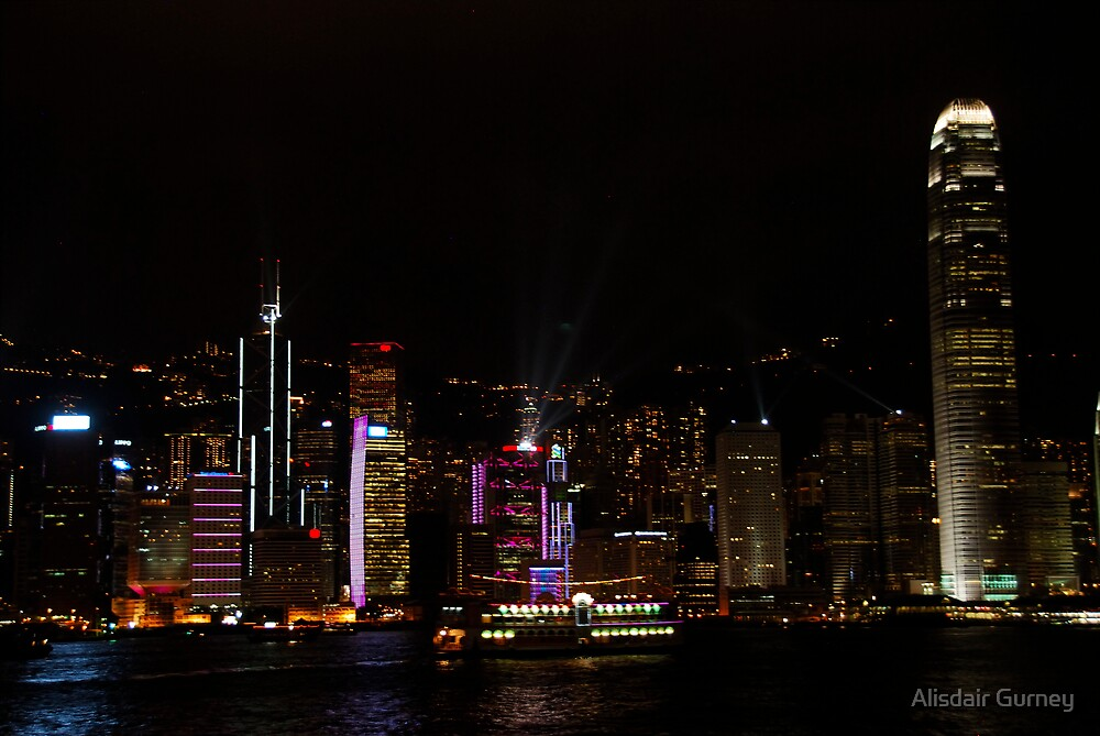 Hong Kong Victoria Harbour at Night by Alisdair Gurney