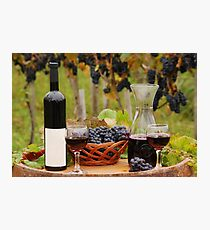red wine wineglasses and bottles Photographic Print