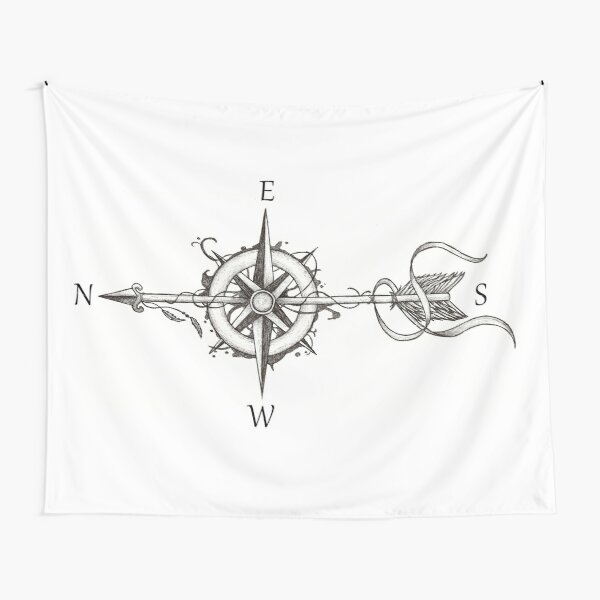 Compass with arrow Tapestry