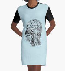 Anatomical Brain Drawing Graphic T-Shirt Dress