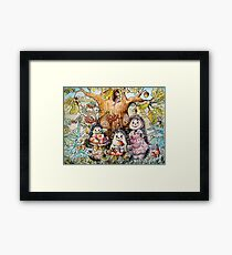Family hedgehogs watercolor, autumn paintings landscape Framed Print