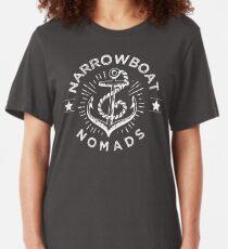 Narrowboat Nomads-Canals-Cruising Slim Fit T-Shirt