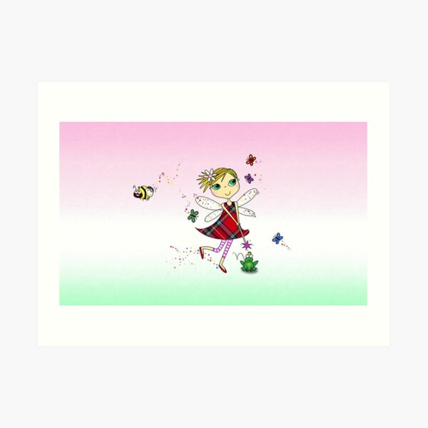 Cute Fairy Cartoon - Little Girls Dream Art Print