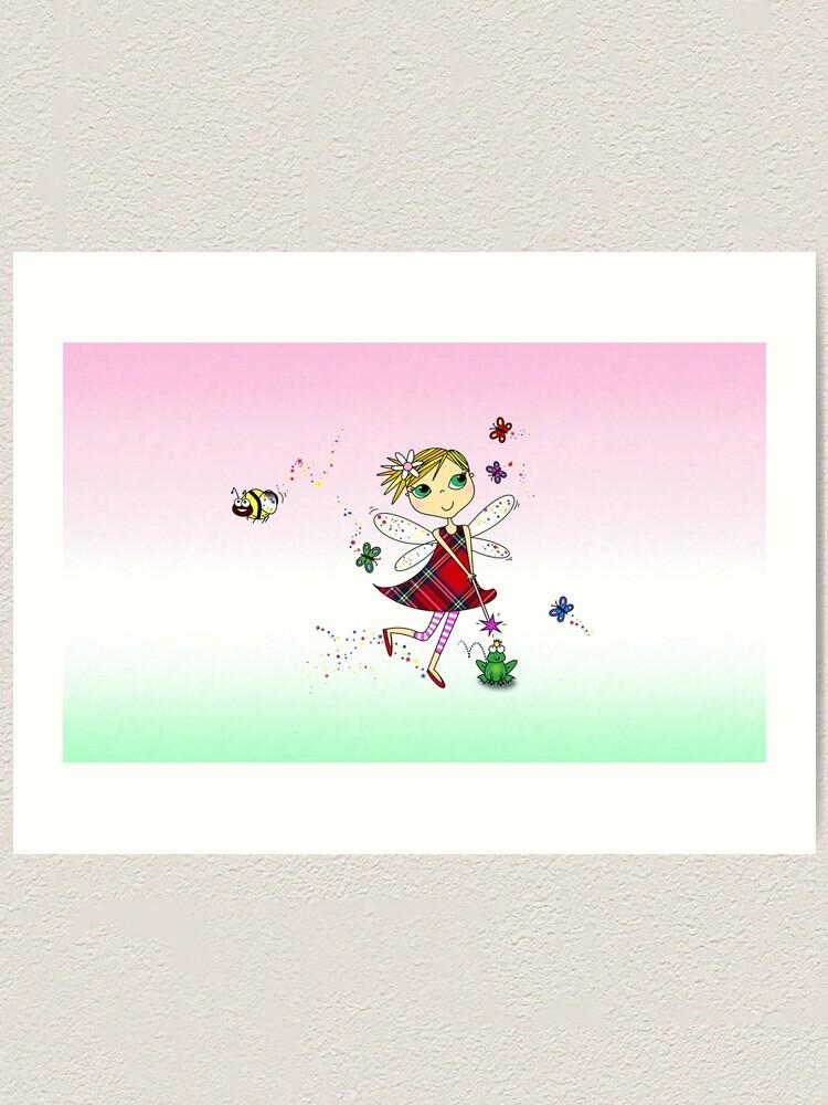 Alternate view of Cute Fairy Cartoon - Little Girls Dream Art Print