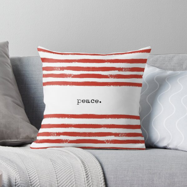 red stripes-peace Throw Pillow