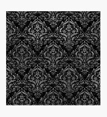 DAMASK1 BLACK MARBLE & GRAY LEATHER Photographic Print