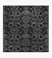 DAMASK2 BLACK MARBLE & GRAY LEATHER Photographic Print