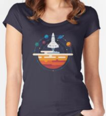 Space Shuttle and Planets Women's Fitted Scoop T-Shirt