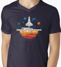 Space Shuttle and Planets Men's V-Neck T-Shirt