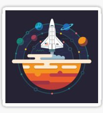 Space Shuttle and Planets Sticker