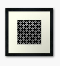 PUZZLE1 BLACK MARBLE & GRAY LEATHER Framed Print
