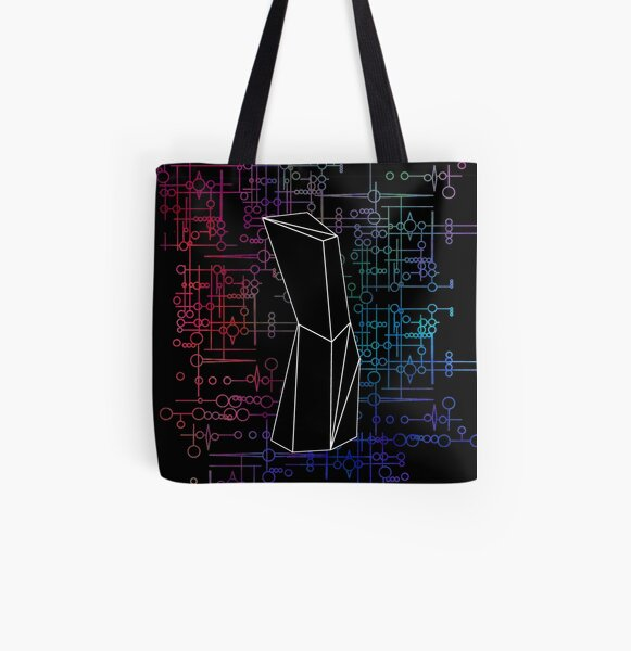 The Obelisk / The Diviner (Black and Multi-Coloured on Black) All Over Print Tote Bag