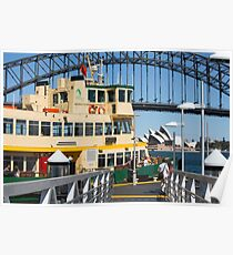 Sydney ferry, harbour bridge and Opera House Poster