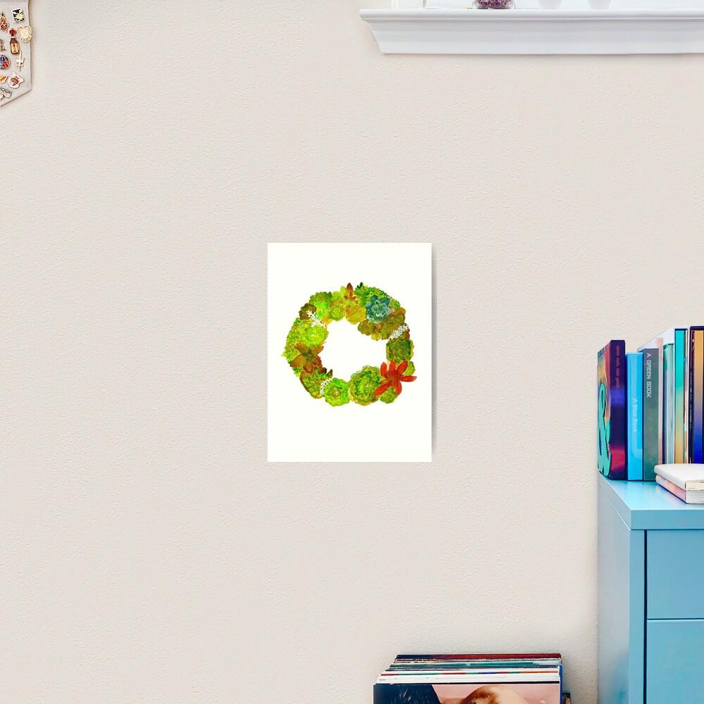 Succulent Wreath Art Print